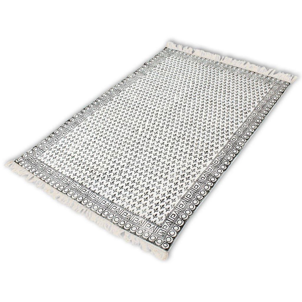 vidaXL Bavlněný koberec 180x270 cm černá a bílá