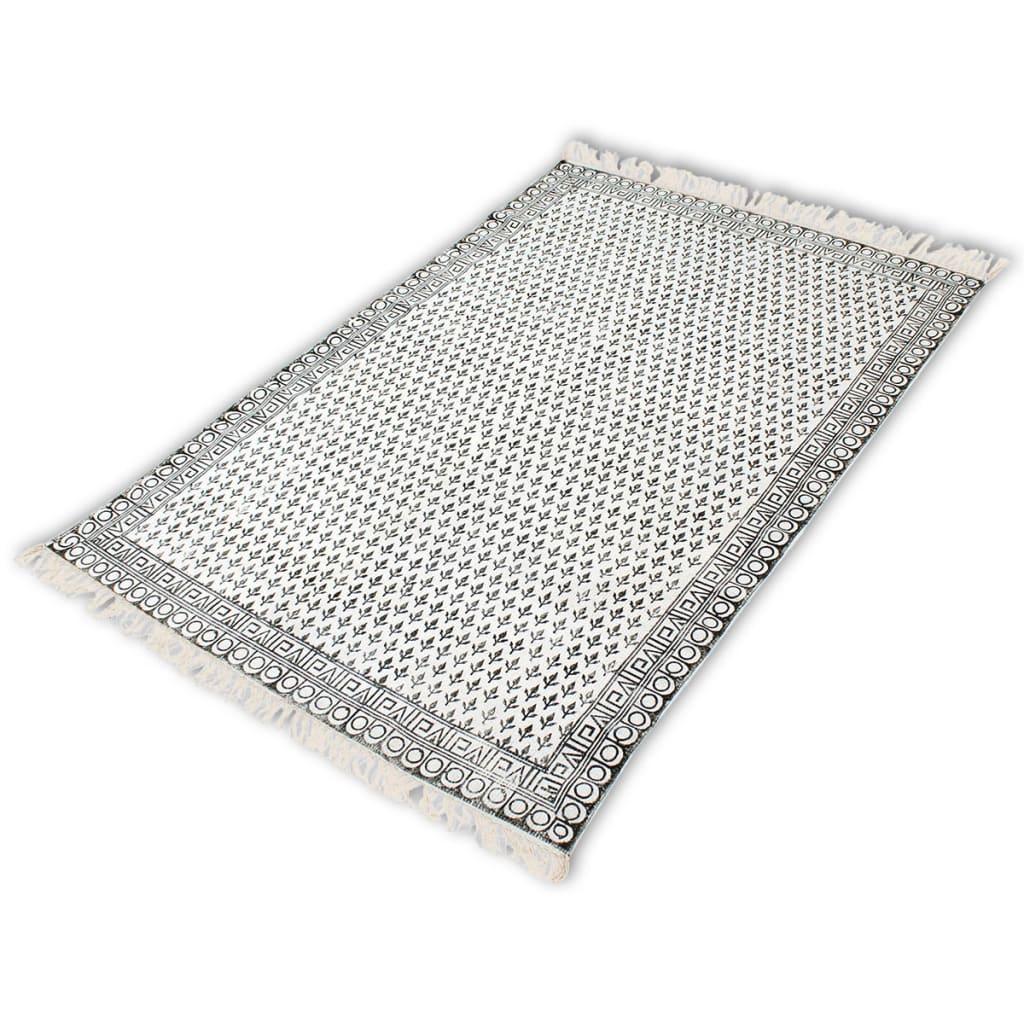 vidaXL Bavlněný koberec 180x120 cm černá a bílá