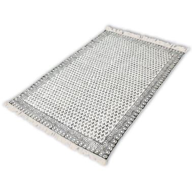 Vidaxl tappeto di cotone 180x120 cm bianco e nero - Tappeto bianco e nero ...