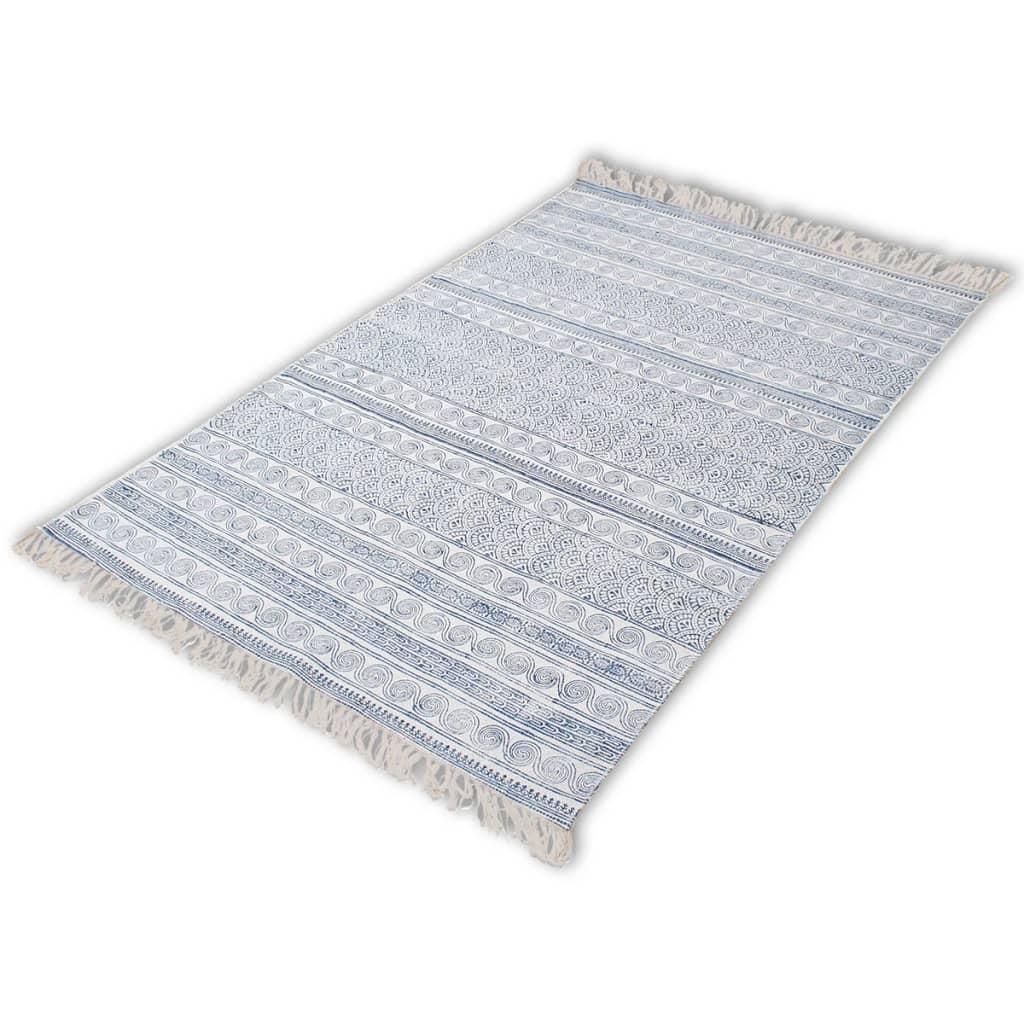 vidaXL Bavlněný koberec 180x270 cm modrý