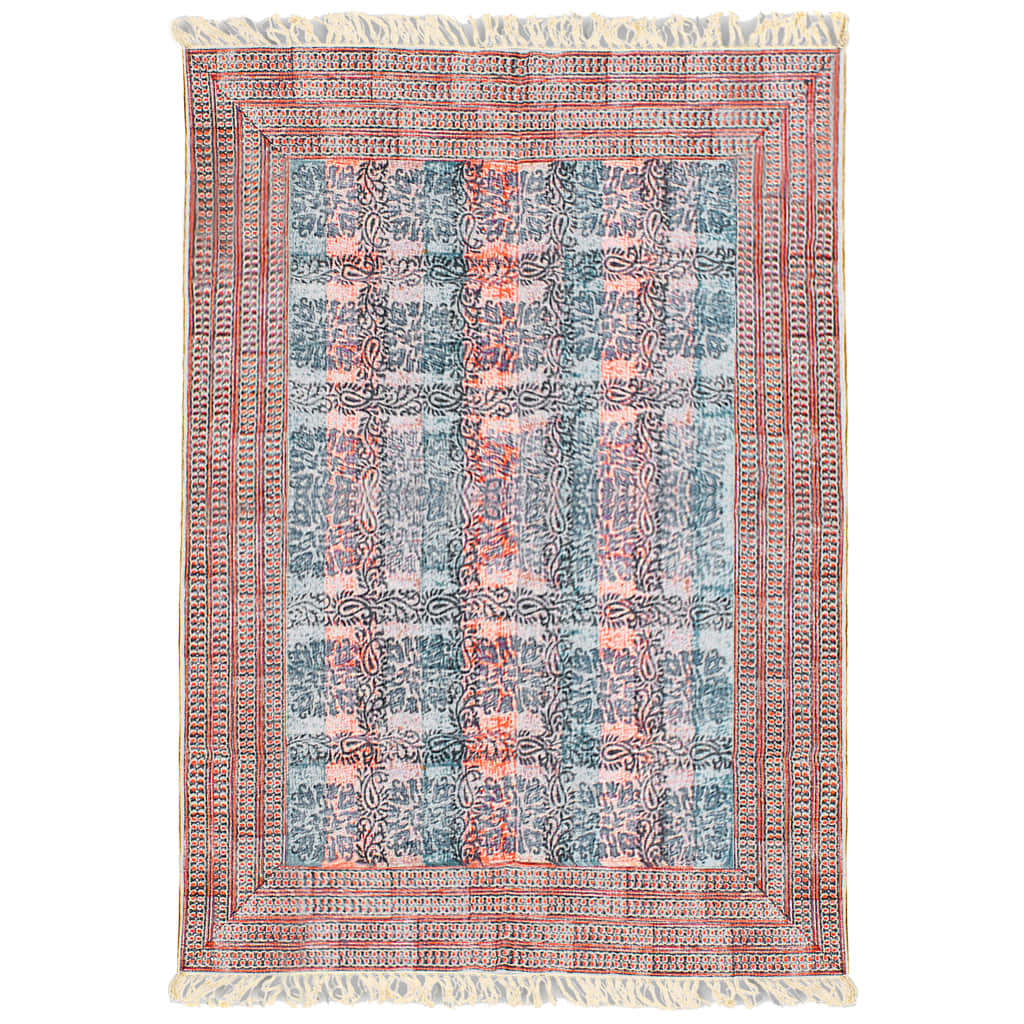 vidaXL Bavlněný koberec 180x120 cm červený
