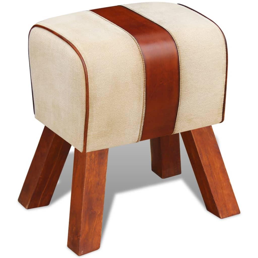 vidaXL Židle plátno a pravá kůže hnědá 40x30x45 cm