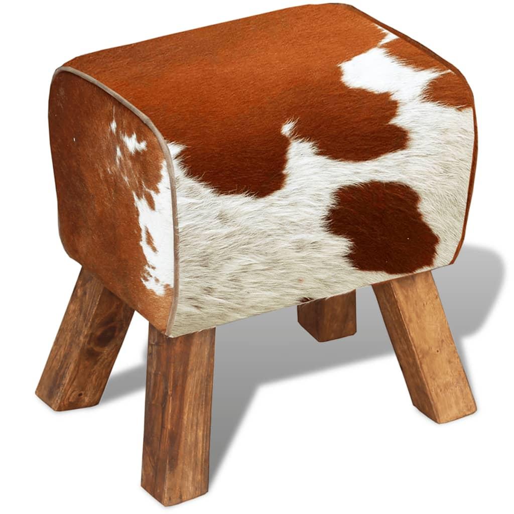 vidaXL Stolička pravá kravská kůže 40x28x50 cm