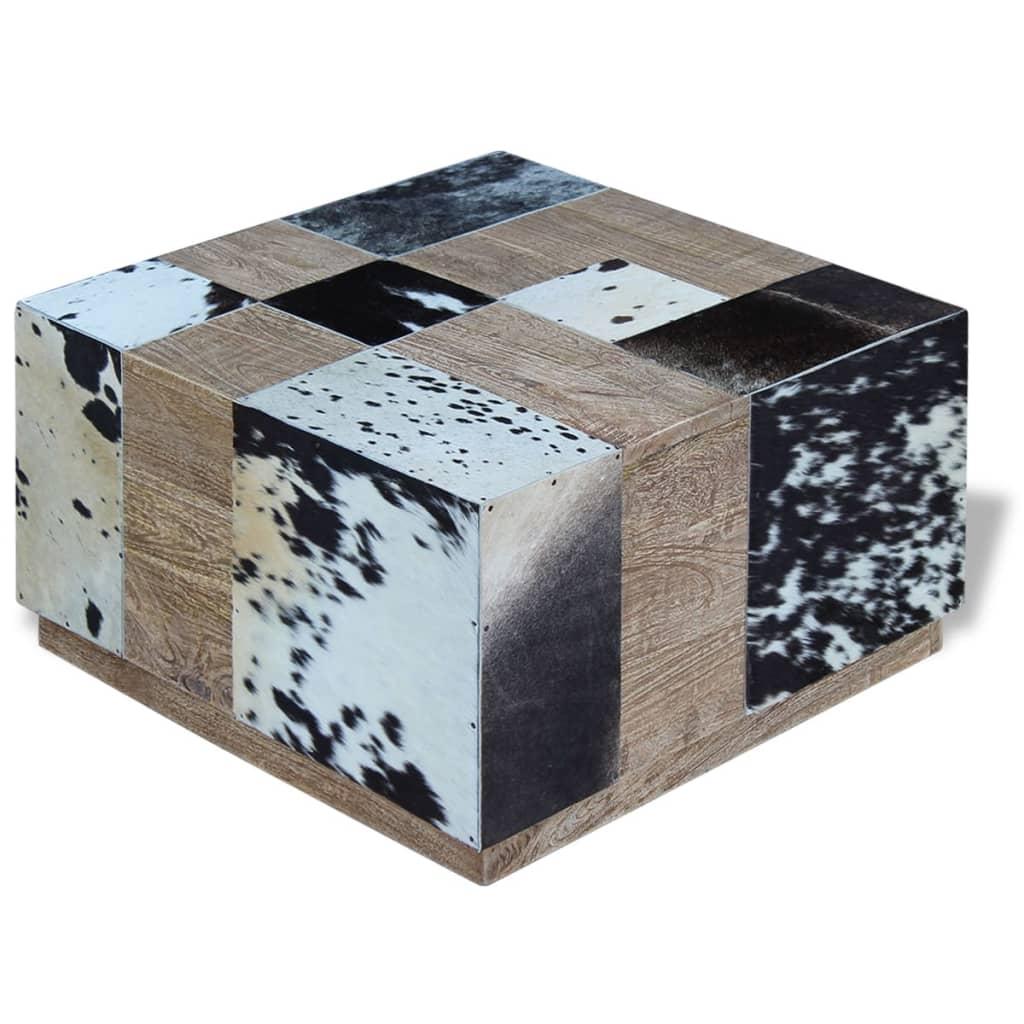 vidaXL Stolik kawowy z elementami ze skóry bydlęcej 60x60x36 cm