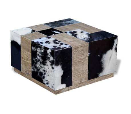 vidaXL Kavos staliukas, tikra karvės oda, 60x60x36 cm[2/9]