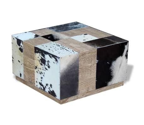 vidaXL Kavos staliukas, tikra karvės oda, 60x60x36 cm[3/9]