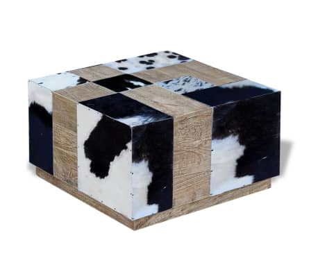 vidaXL Kavos staliukas, tikra karvės oda, 60x60x36 cm[4/9]