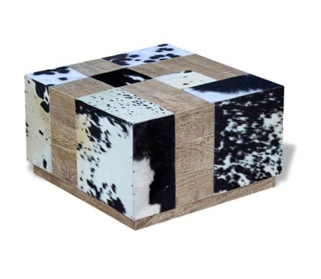 vidaXL Kavos staliukas, tikra karvės oda, 60x60x36 cm[5/9]