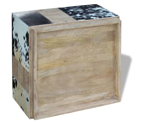 vidaXL Kavos staliukas, tikra karvės oda, 60x60x36 cm[8/9]