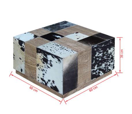 vidaXL Kavos staliukas, tikra karvės oda, 60x60x36 cm[9/9]
