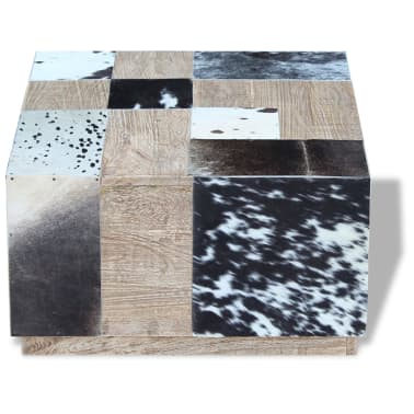 vidaXL Kavos staliukas, tikra karvės oda, 60x60x36 cm[6/9]