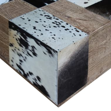 vidaXL Kavos staliukas, tikra karvės oda, 60x60x36 cm[7/9]