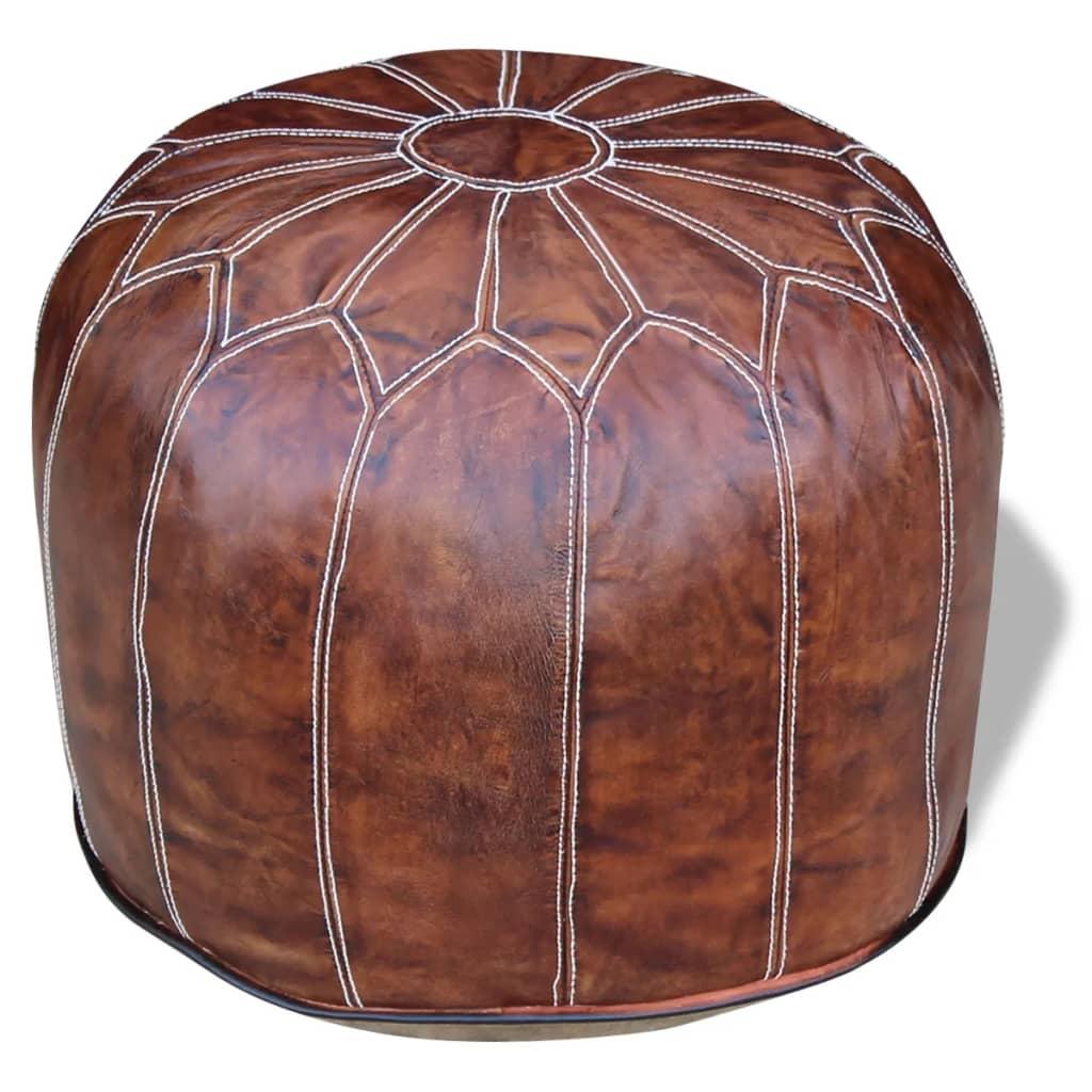 vidaXL Taburet piele naturală rotund, 48x48x43 cm, maro închis imagine vidaxl.ro
