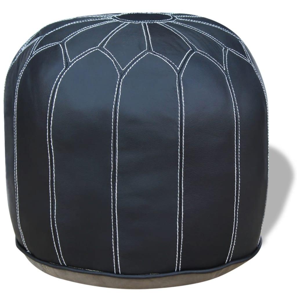 vidaXL Taburet z pravé kůže kulatý šedý 48x48x38 cm