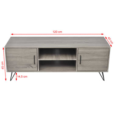 vidaXL TV Cabinet 120x40x45 cm Grey[5/5]