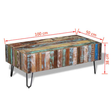 "vidaXL Coffee Table Solid Reclaimed Wood 39.4""x19.7""x15""[8/8]"