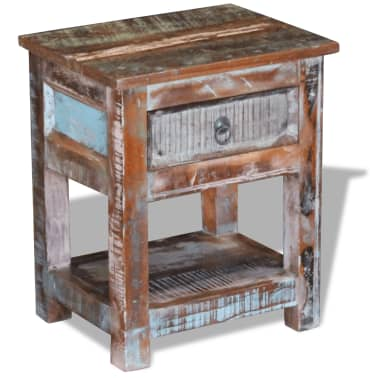 """vidaXL Side Table with 1 Drawer Solid Reclaimed Wood 17""""x13""""x20""""[1/9]"""