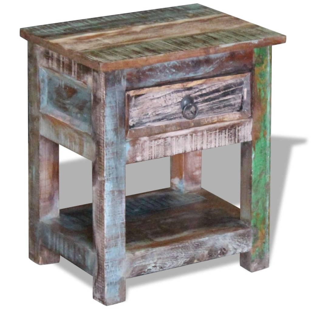 vidaXL Bočni stolić s 1 ladicom masivno obnovljeno drvo 43x33x51 cm