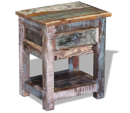 """vidaXL Side Table with 1 Drawer Solid Reclaimed Wood 17""""x13""""x20""""[2/9]"""