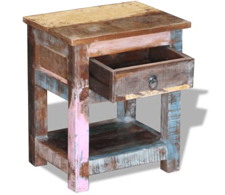 """vidaXL Side Table with 1 Drawer Solid Reclaimed Wood 17""""x13""""x20""""[6/9]"""