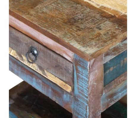 """vidaXL Side Table with 1 Drawer Solid Reclaimed Wood 17""""x13""""x20""""[8/9]"""