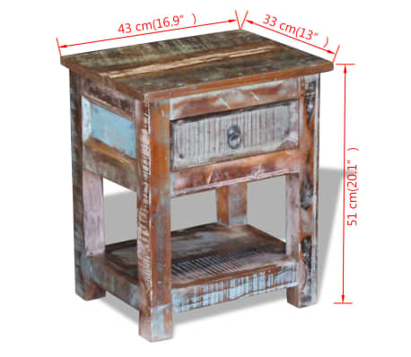"""vidaXL Side Table with 1 Drawer Solid Reclaimed Wood 17""""x13""""x20""""[9/9]"""