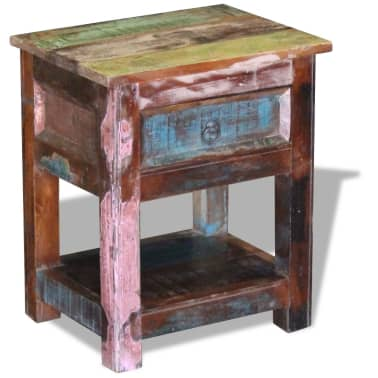 """vidaXL Side Table with 1 Drawer Solid Reclaimed Wood 17""""x13""""x20""""[3/9]"""