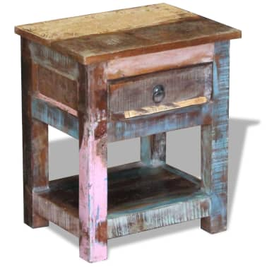 """vidaXL Side Table with 1 Drawer Solid Reclaimed Wood 17""""x13""""x20""""[4/9]"""