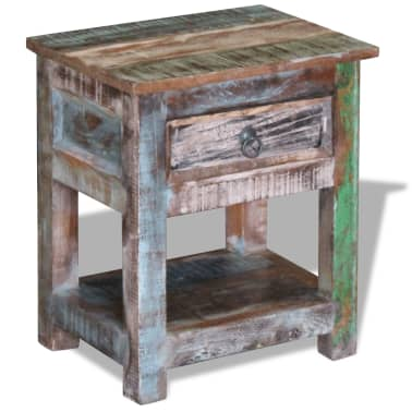 """vidaXL Side Table with 1 Drawer Solid Reclaimed Wood 17""""x13""""x20""""[5/9]"""