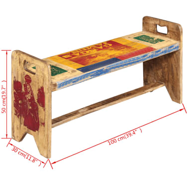 vidaXL Cola Bench Solid Reclaimed Wood 100x30x50 cm[7/8]