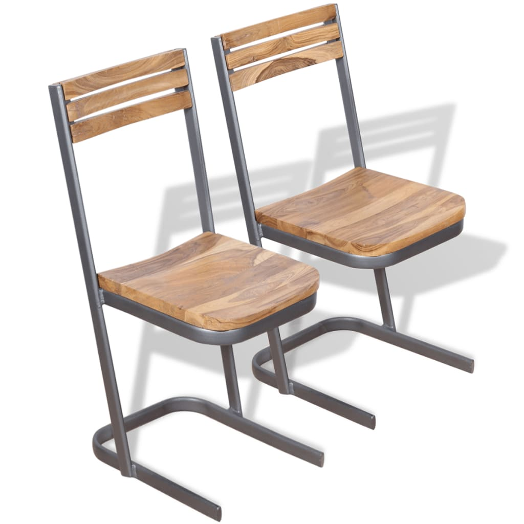 vidaXL Καρέκλες Τραπεζαρίας 2 τεμ. από Μασίφ Ξύλο Teak