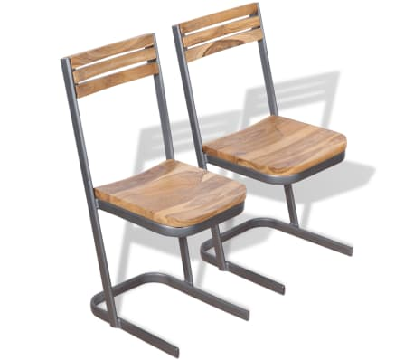 vidaXL Dining Chairs 2 pcs Solid Teak Wood[1/11]