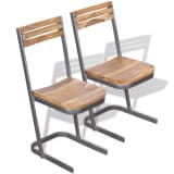 vidaXL Dining Chairs 2 pcs Solid Teak Wood