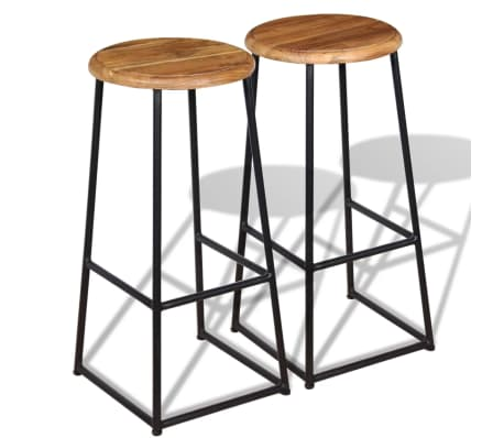 vidaXL Barske stolice 2 kom Masivna Tikovina[1/9]