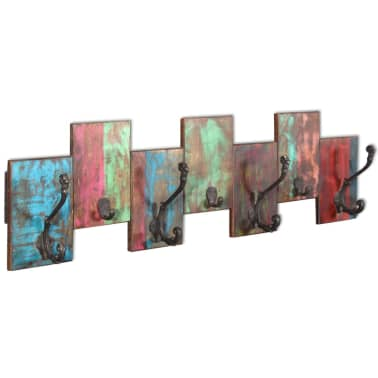 vidaXL Coat Rack with 7 Hooks Solid Reclaimed Wood[1/9]