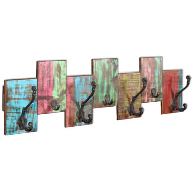 vidaXL Coat Rack with 7 Hooks Solid Reclaimed Wood[2/9]