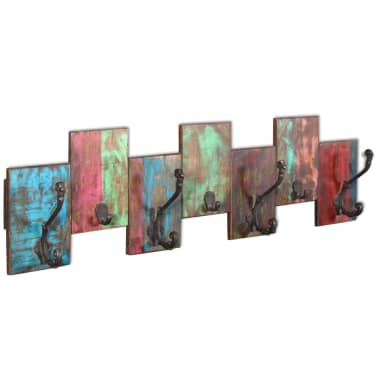 vidaXL Coat Rack with 7 Hooks Solid Reclaimed Wood[3/9]
