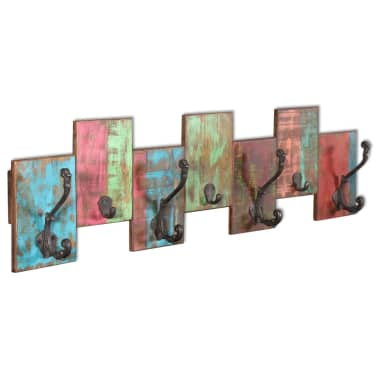 vidaXL Coat Rack with 7 Hooks Solid Reclaimed Wood[4/9]