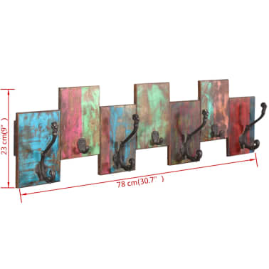vidaXL Coat Rack with 7 Hooks Solid Reclaimed Wood[9/9]
