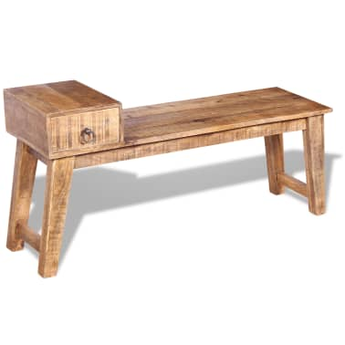 "vidaXL Bench with Drawer Solid Mango Wood 47.2""x14.2""x23.6""[1/9]"