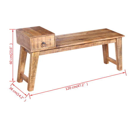 "vidaXL Bench with Drawer Solid Mango Wood 47.2""x14.2""x23.6""[9/9]"