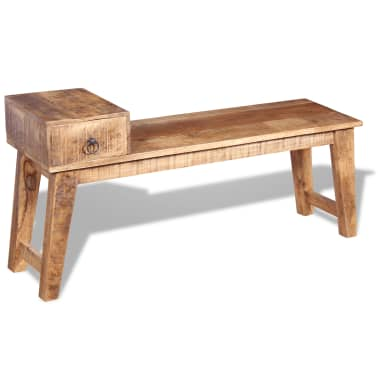 "vidaXL Bench with Drawer Solid Mango Wood 47.2""x14.2""x23.6""[5/9]"