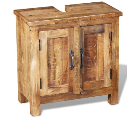 vidaXL Bathroom Vanity Cabinet with Mirror Solid Mango Wood[6/20]