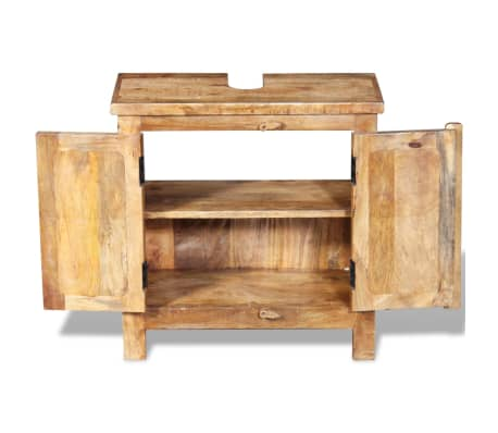 vidaXL Bathroom Vanity Cabinet with Mirror Solid Mango Wood[9/20]