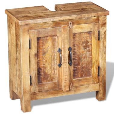 vidaXL Bathroom Vanity Cabinet with Mirror Solid Mango Wood[4/20]
