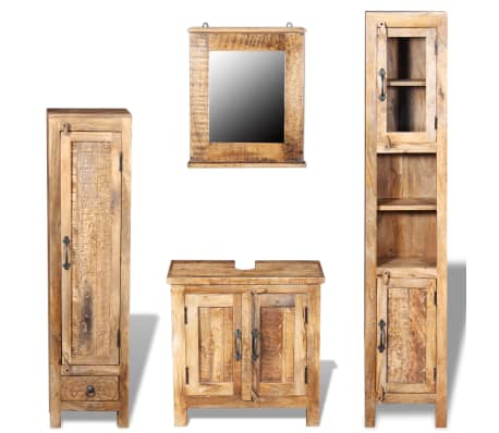 vidaXL Vanity Cabinet with Mirror and 2 Side Cabinets Solid Mango Wood[1/36]