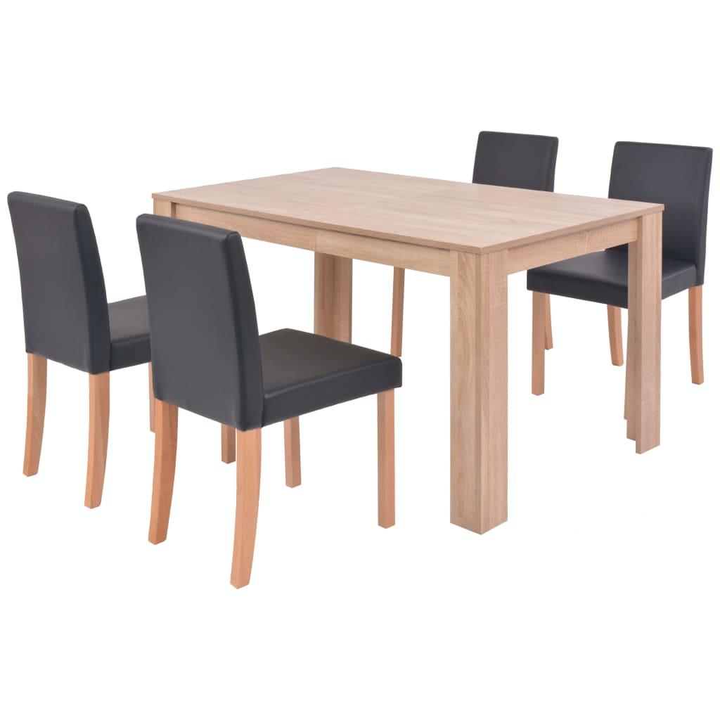 vidaXL Τραπεζαρία & Καρέκλες 5 τεμ. Μαύρα Συνθετικό Δέρμα / Ξύλο Δρυός