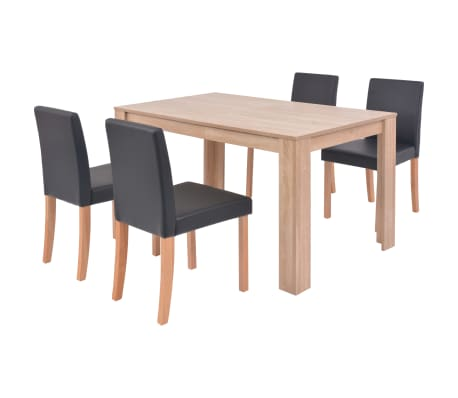 vidaXL Mesa e cadeiras de jantar 5 pcs couro artif. carvalho preto