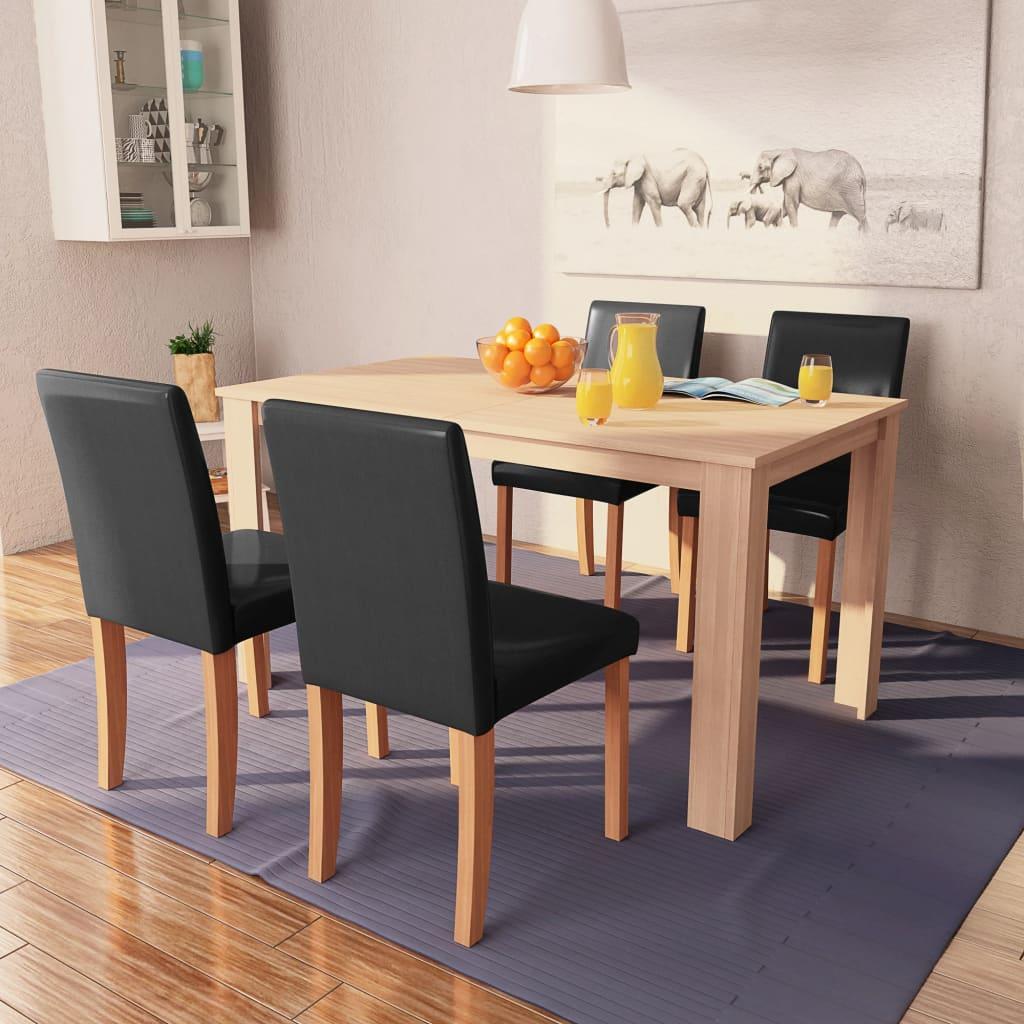 vidaXL Masă și scaune, 5 piese, negru, stejar, piele artificială vidaxl.ro
