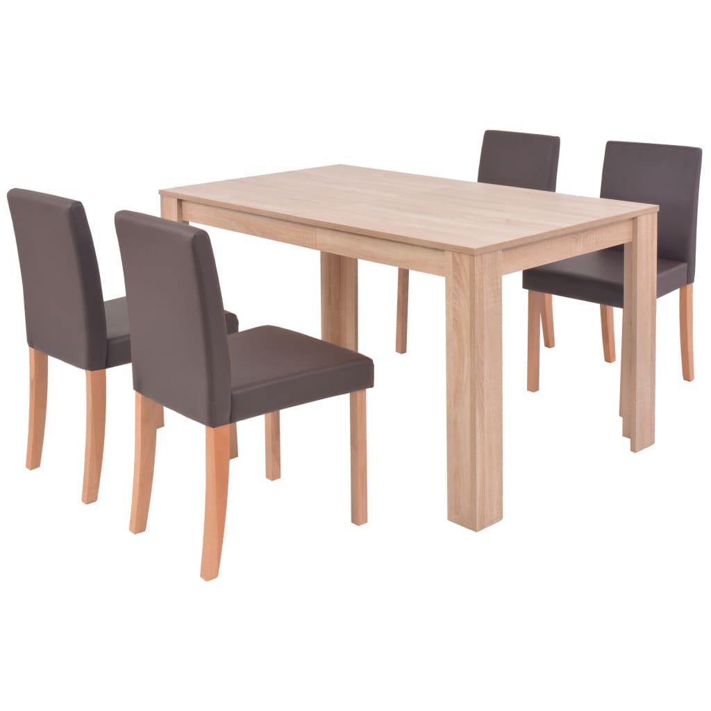 vidaXL Τραπεζαρία & Καρέκλες 5 τεμ. Καφέ Συνθετικό Δέρμα / Ξύλο Δρυός